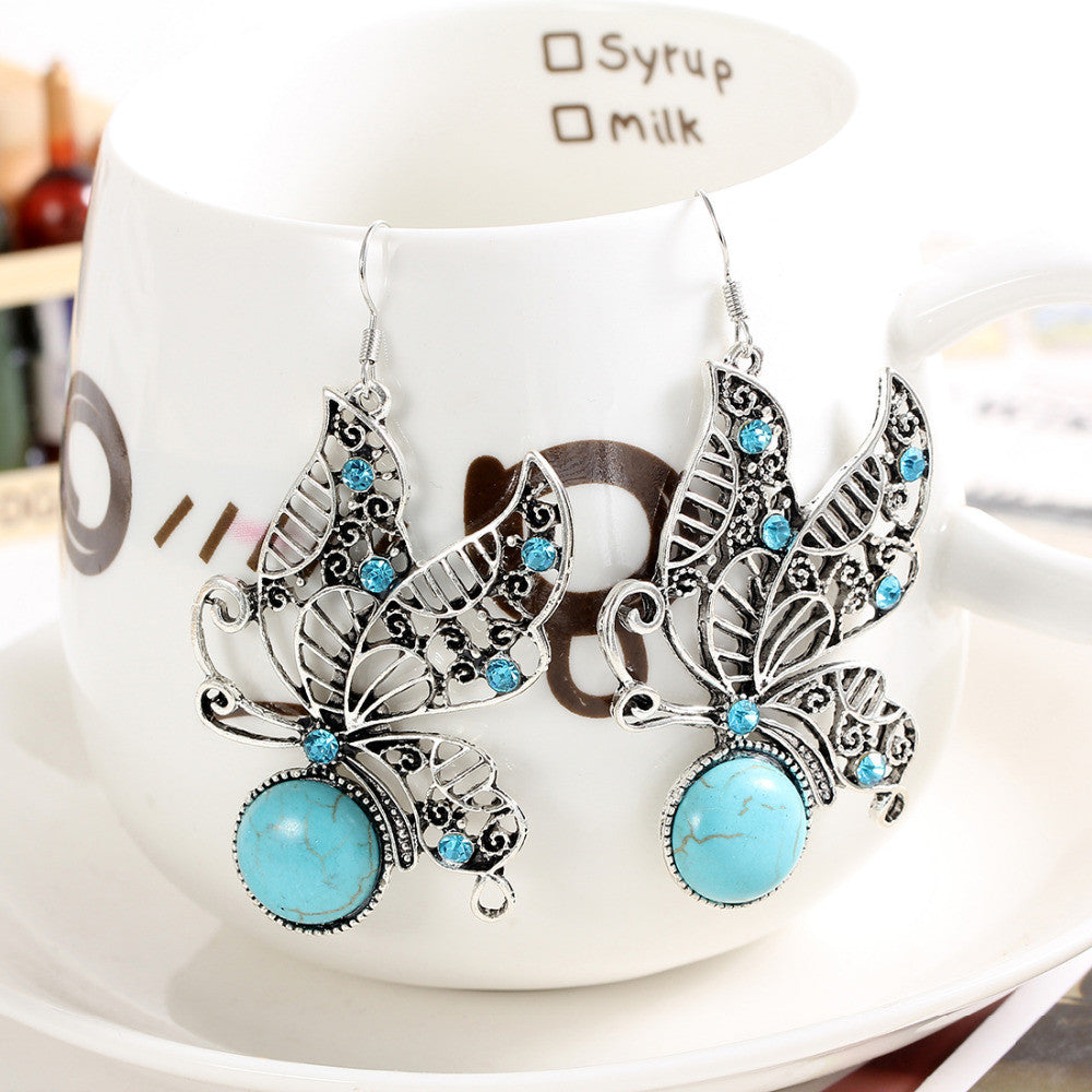 Tibetan Silver Butterfly Danglers with Turquoise and Austrian Crystals - DesignIN