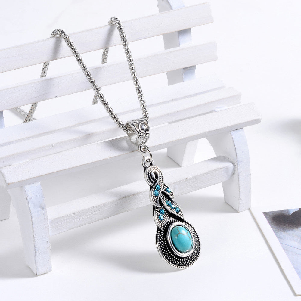 Natural Turquoise Ethnic Bohemian Pendant Necklace - DesignIN