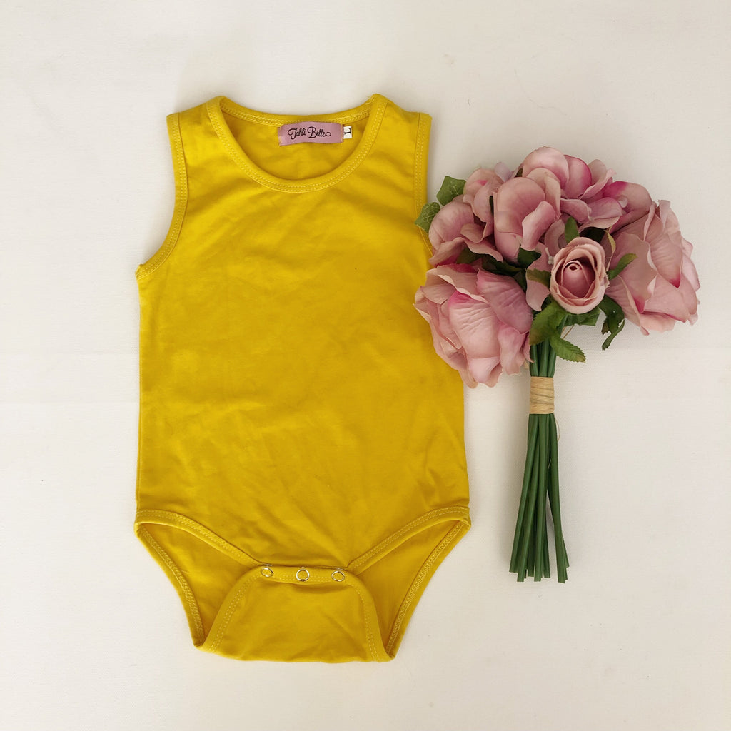 LAST ONE- Mustard Sleeveless Bodysuit