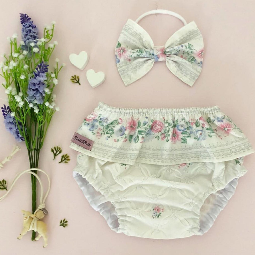 LAST ONE- Vintage Ivory Floral Bloomer & Bow Set