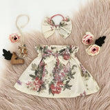 Vintage Paperbag Skirt & Bow Headband Set