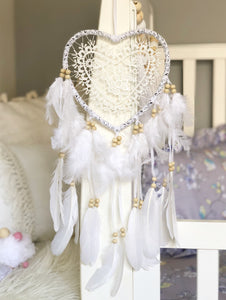 White Crochet Love Heart Doily + Feather Dreamcatcher Wall Hanging