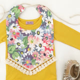 Colourful Daisy Print Lace Trim Bib
