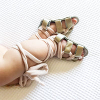 Strappy Leather Gladiator Sandals in Bronze