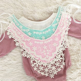 Pretty Embroidered Collar Style Bib- White/ Pink/ Aqua