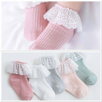 Gorgeous Broderie Lace Trim Ribbed Socks- 5 Colours