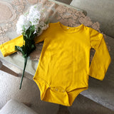 Golden Mustard Basic Long Sleeve Cotton Bodysuit