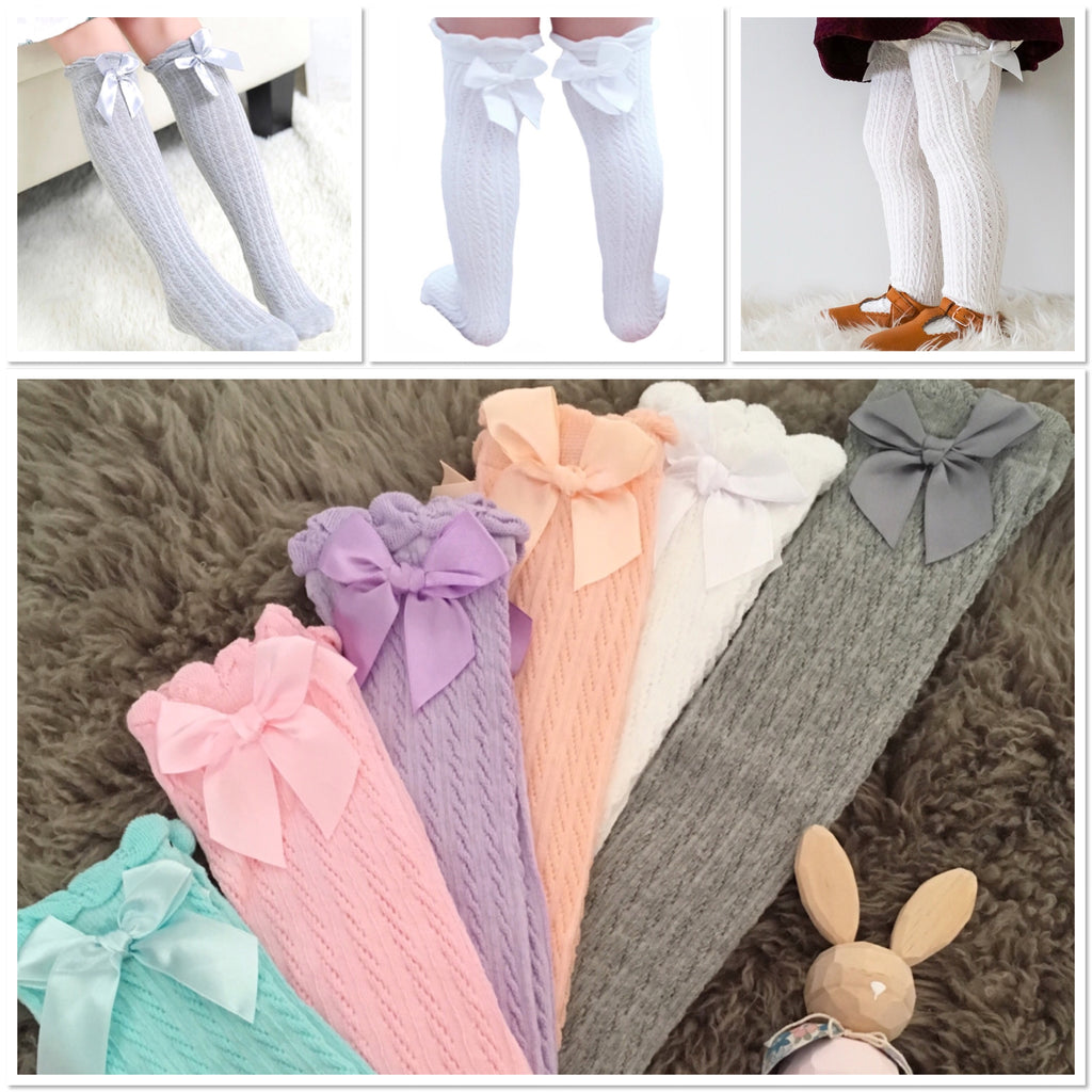 Extra Long Patterned Socks with Satin Bow