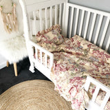 Cot Quilt Cover + Pillow Slip Set In 'Emerson' Boho Floral