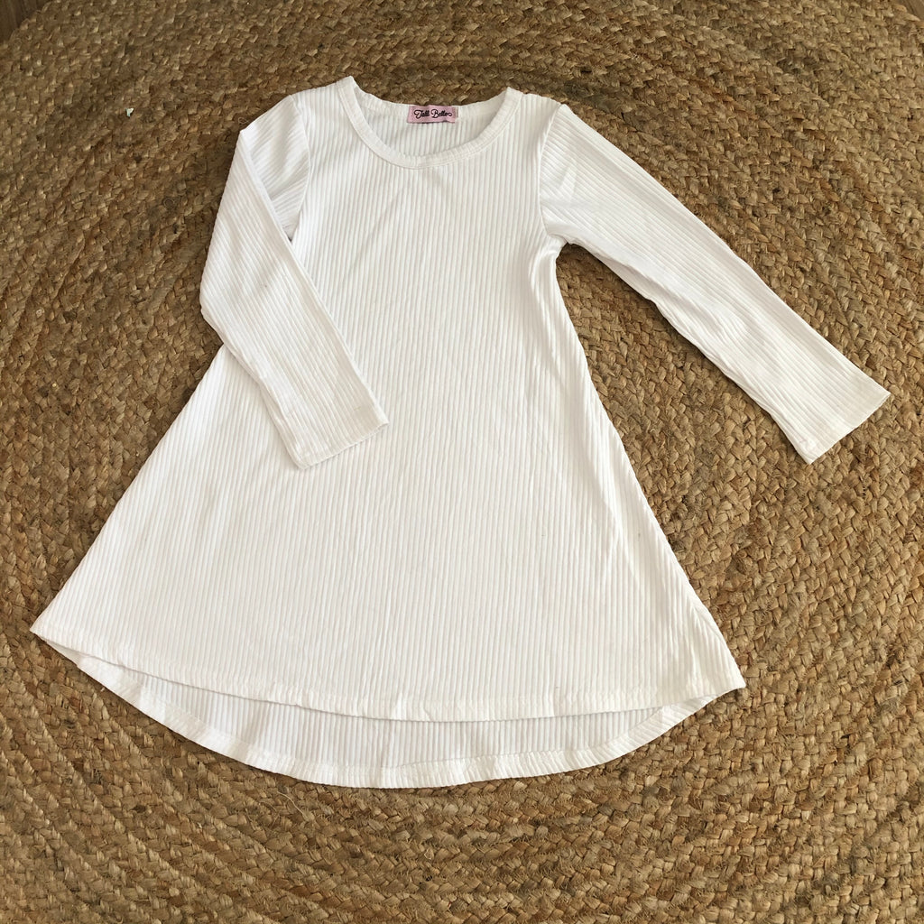 SECOND- White Ribbed Hi-LO Tunic Dress SIZE 5-6Y