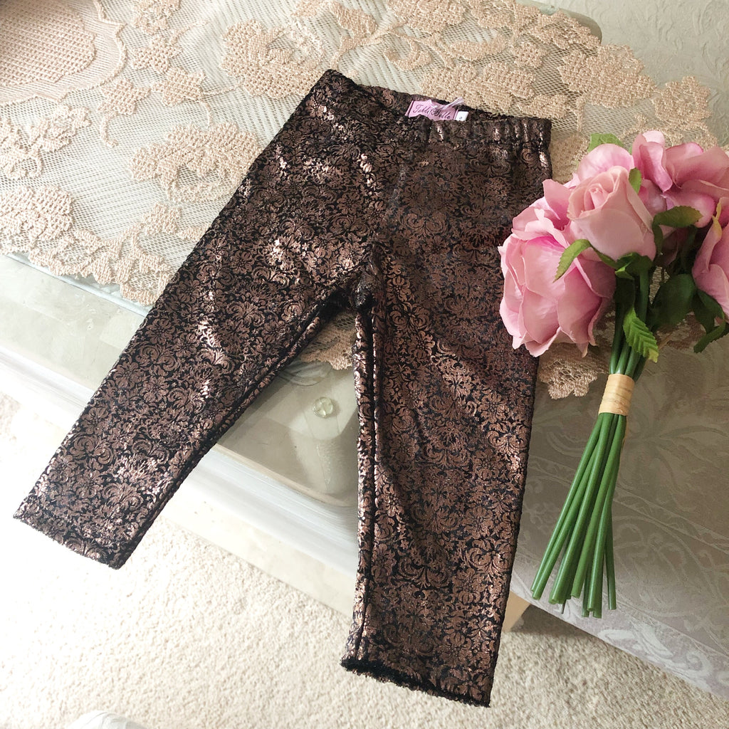 Hand Made Velvet Damask Leggings with Huge Bow