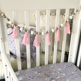 Wooden Bead + Tassel Wall Hanging Garland in Pink/ White/ Grey/ Natural