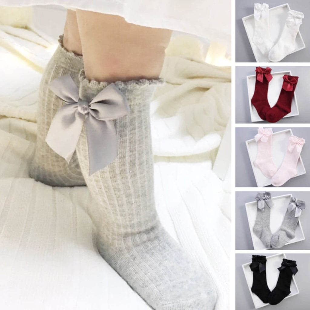 Sweet Pure Cotton Knee-High Bow Socks