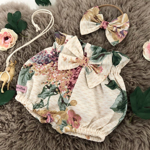 Vintage Boho Floral Shorties & Hair Bow Set