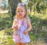 'Ainsley' Smocked Playsuit + Bow Set In Mauve Sophia Floral