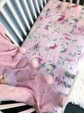 'Sophia' Mauve Rose Vine Fitted Cot Sheet