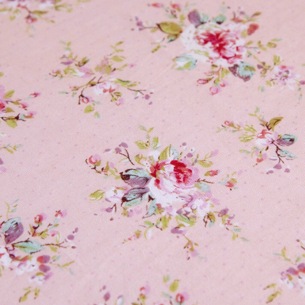 Fitted Cot Sheet in Pink 'Abigail' Digital Floral Print