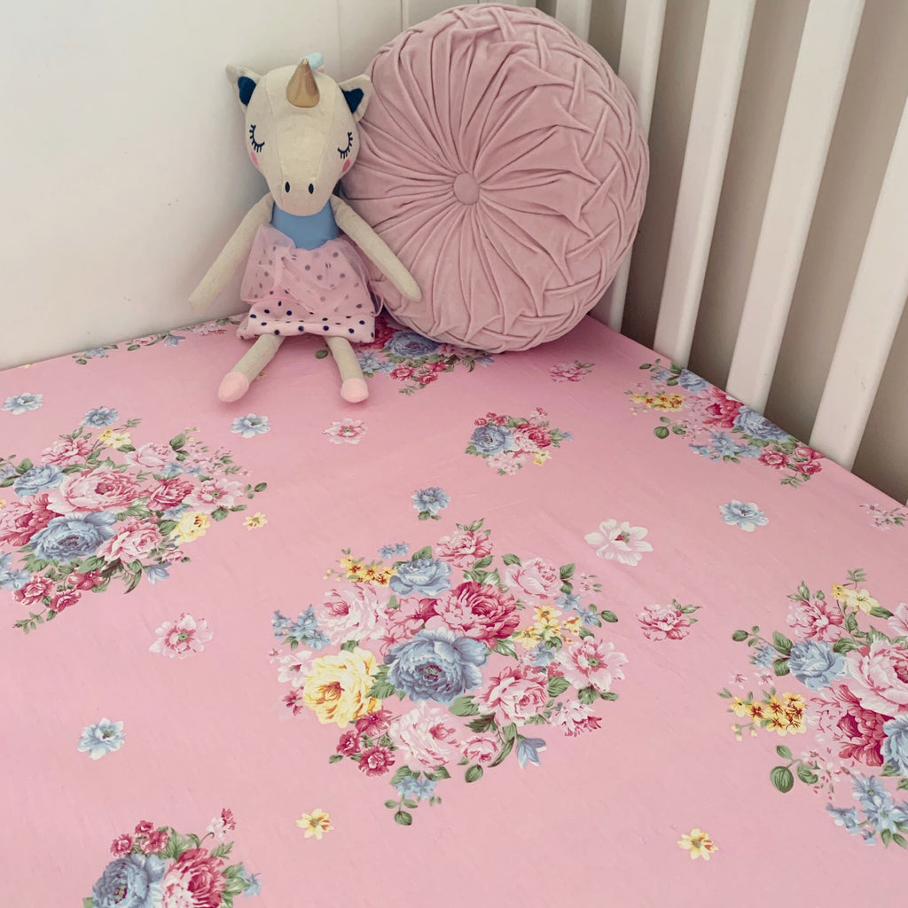 Fitted Cot Sheet in Pink 'Aubrey' Floral Print