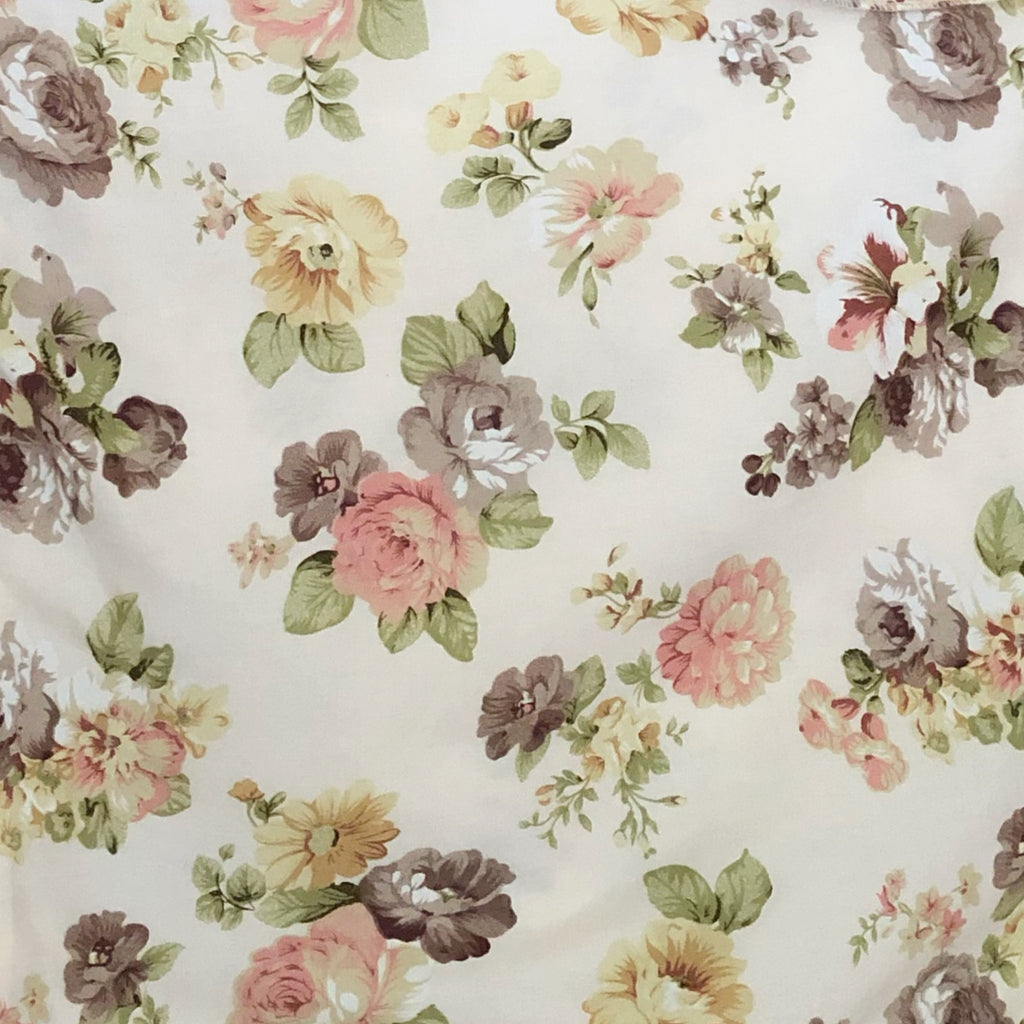 Fitted Cot Sheet in Soft Cream & Peach 'Abigail' Floral