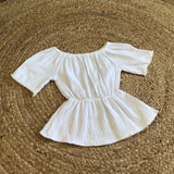 FAULTY- White Cheesecloth Boho Blouse 1-2Y