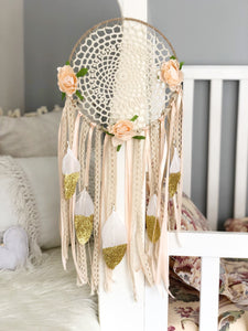 Beautiful Peach Glitter Dipped Feathers + Rose Dreamcatcher