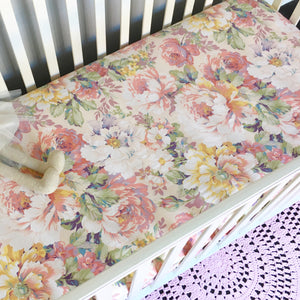 Sweet Peach Floral' Fitted Cot Sheet