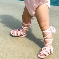 Pastel Pink Leather Strappy Gladiator Sandals
