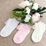 Adorable Pastel Tone Lace Trim Spring Socks