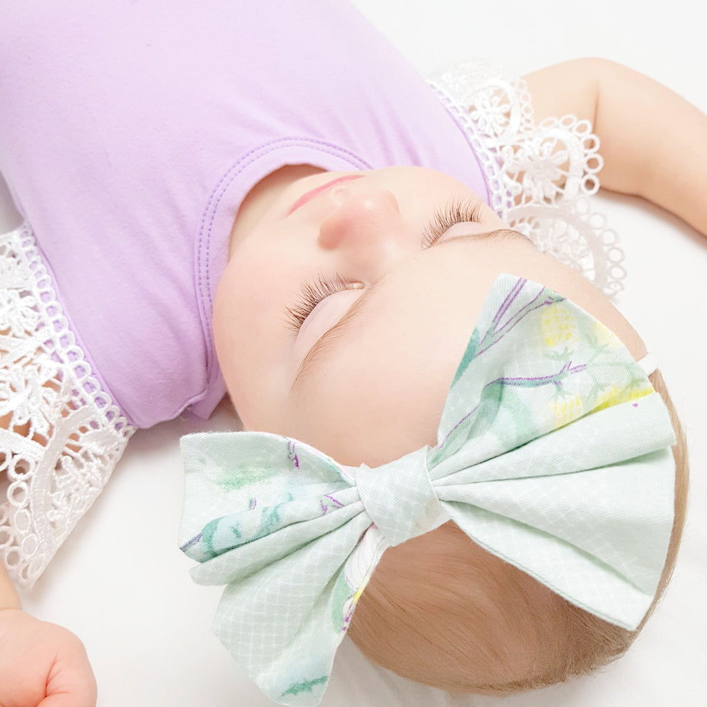Mint & Violet Patterned Big Bow Clip/ Headband