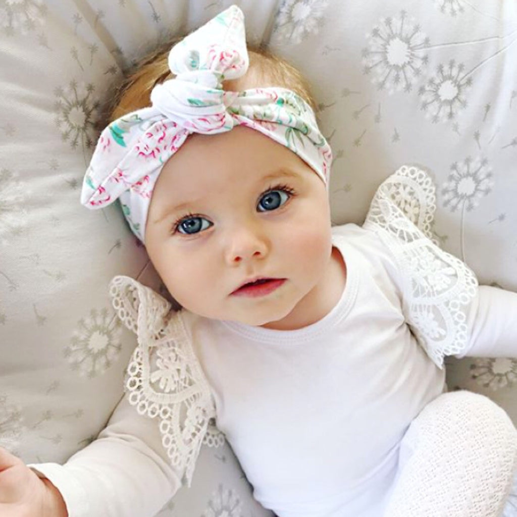 Pretty Pastel Floral Print Top Knot/ Head Wrap