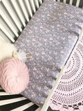 'Grace' Pastel Grey & Pink Jasmine Fitted Cot Sheet