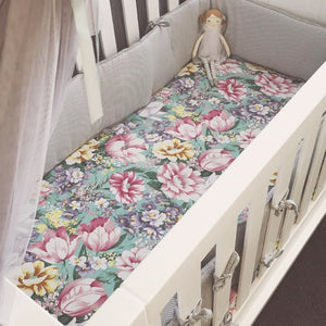 Fitted Cot Sheet in Aqua 'Eden' Floral Print