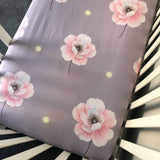'Adeline' Pale Lilac + Pink Peony Fitted Cot Sheet