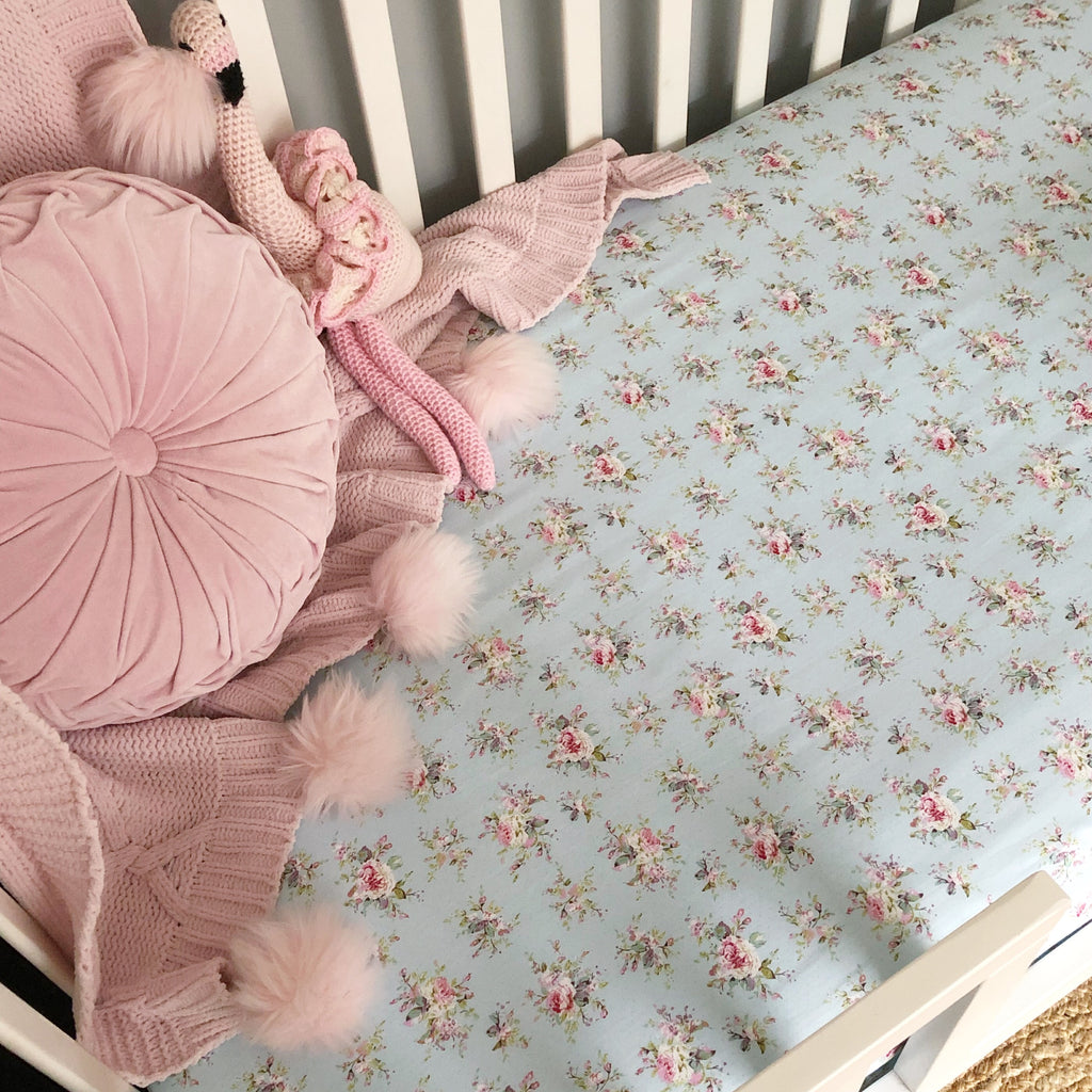 'Lucinda' Baby Blue Flower + Polka Dot Fitted Cot Sheet