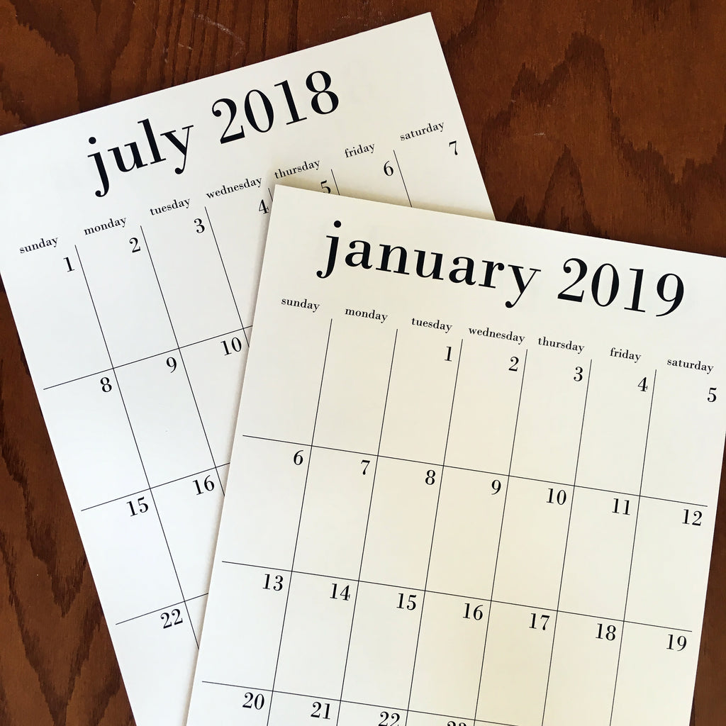 Wholesale calendars, options for 12 month 2020 or 18 month July 2019-December 2020