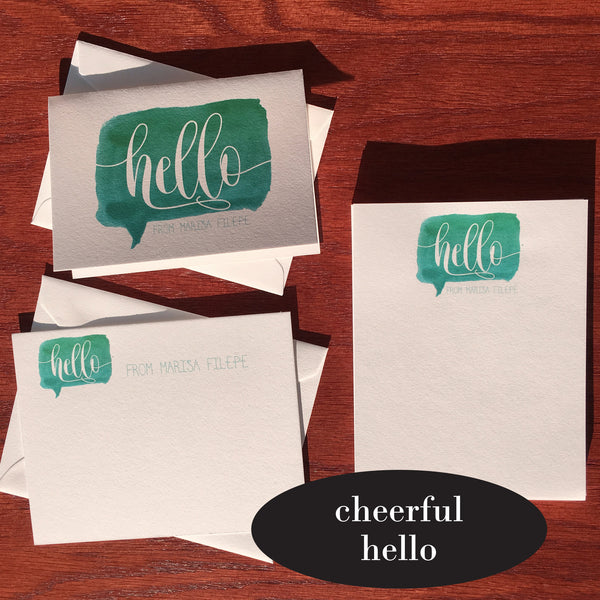 cheerful hello personalized stationery