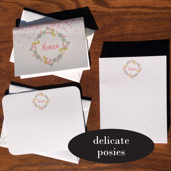 delicate posies custom stationery