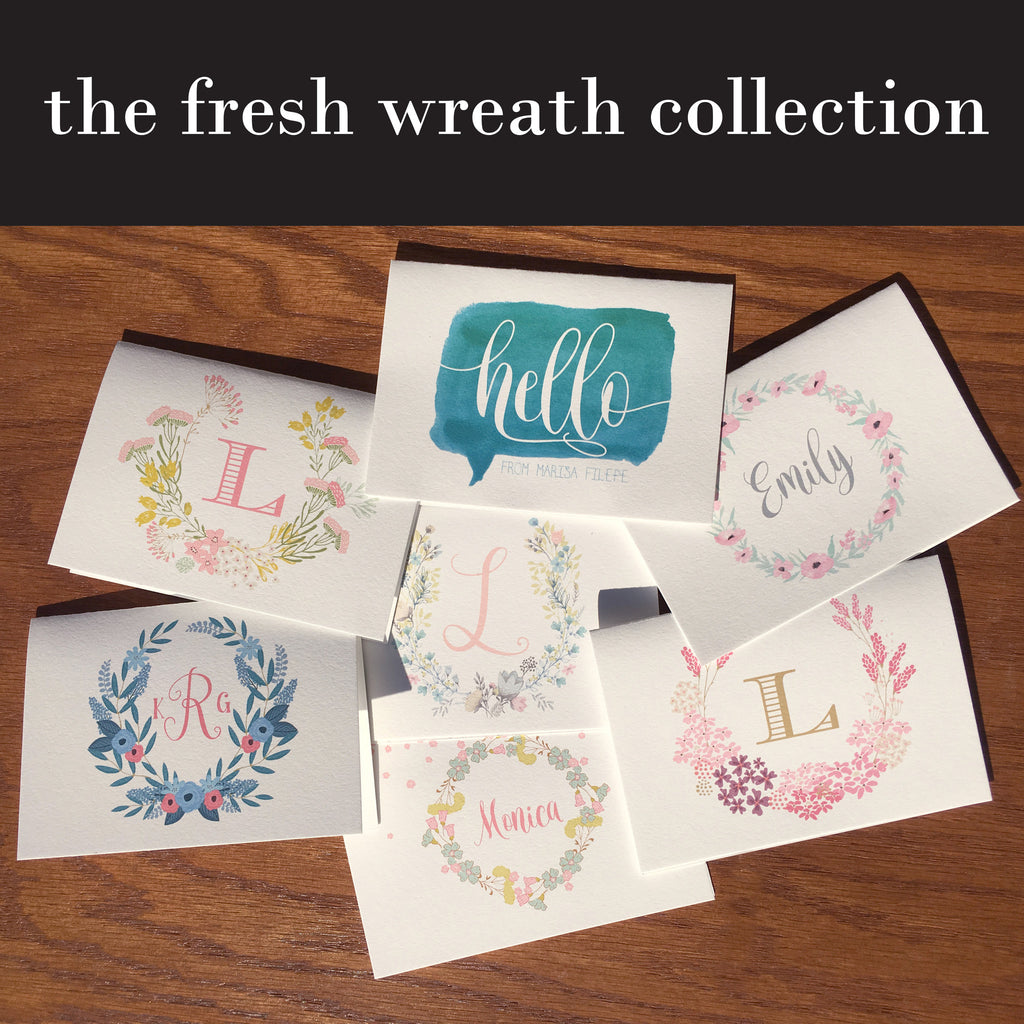the fresh wreath collection personalized stationery note cards