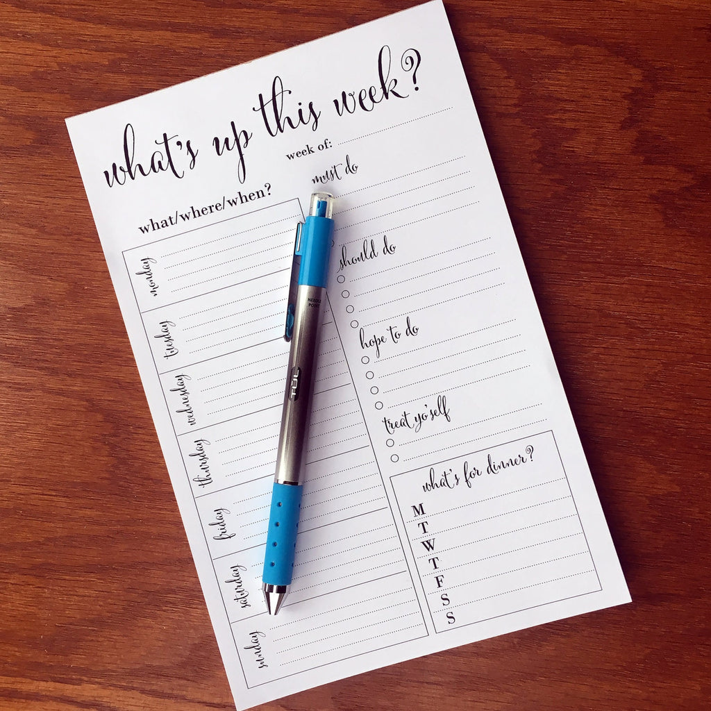 Positive Weekly Docket Note Pad, Weekly Agenda with To Do List