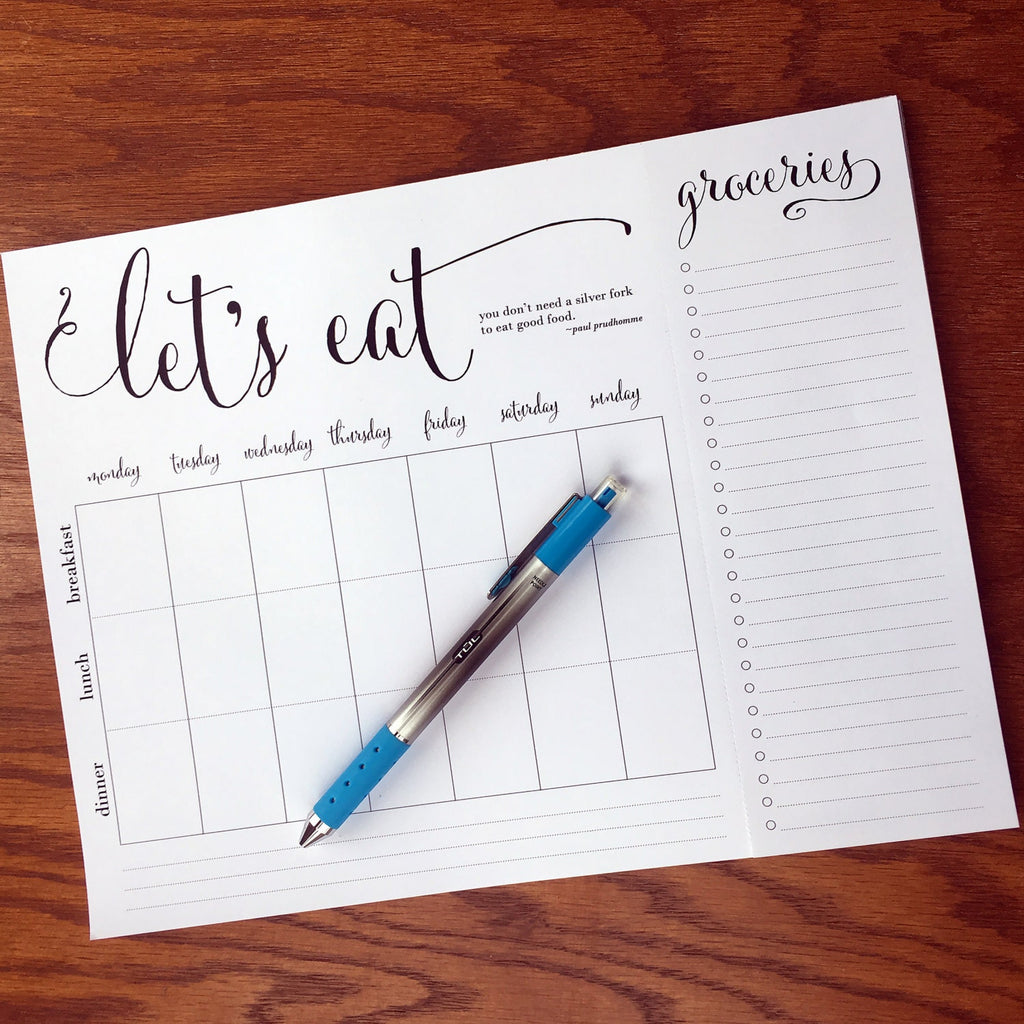 "Positive ""Let's Eat"" Weekly quote meal planning note pad with tear-off grocery list"