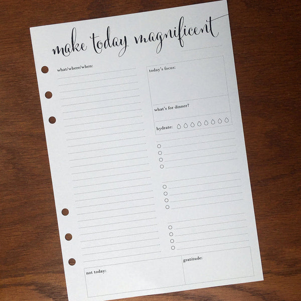A5 Planner Inserts Daily | Positive Untimed Printed A5 Daily Planner Inserts