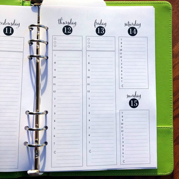 A5 Planner Inserts Weekly | 2019 - 2020 Printed A5 Weekly Hourly Planner Inserts fits Louis Vuitton GM