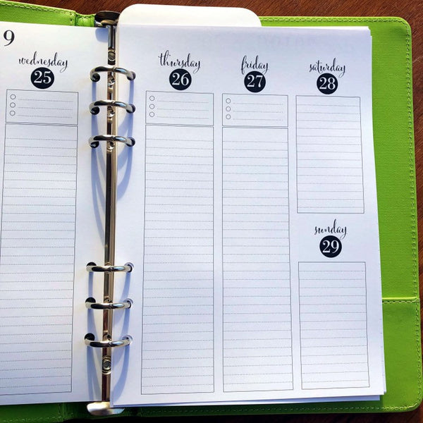 A5 Planner Inserts Weekly | 2019 - 2020 Dated Printed A5 Vertical Vertical Weekly LINED Planner Pages