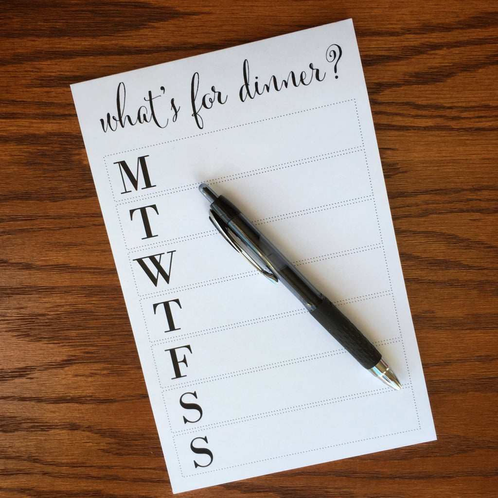 What's for Dinner? Positive Meal Planner Notepad