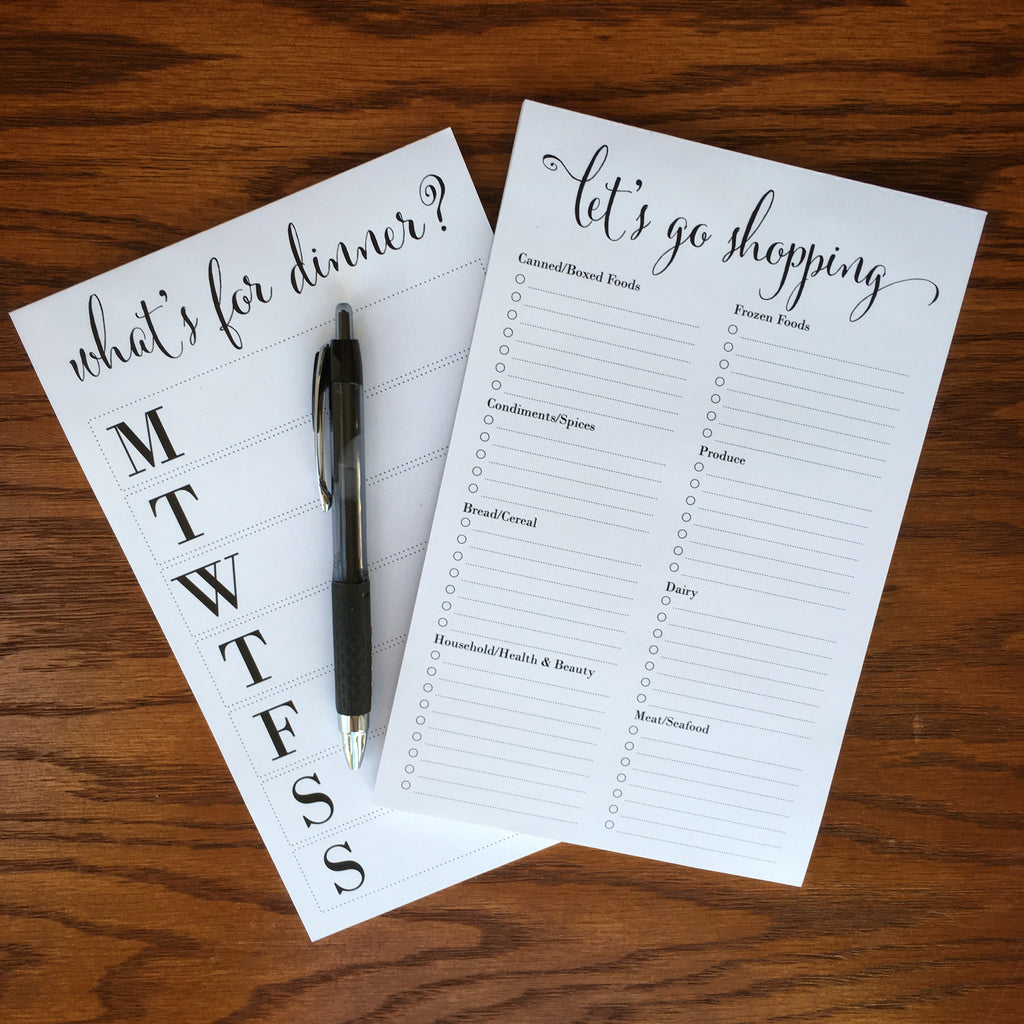 weekly meal plan and shopping list note pad bundle