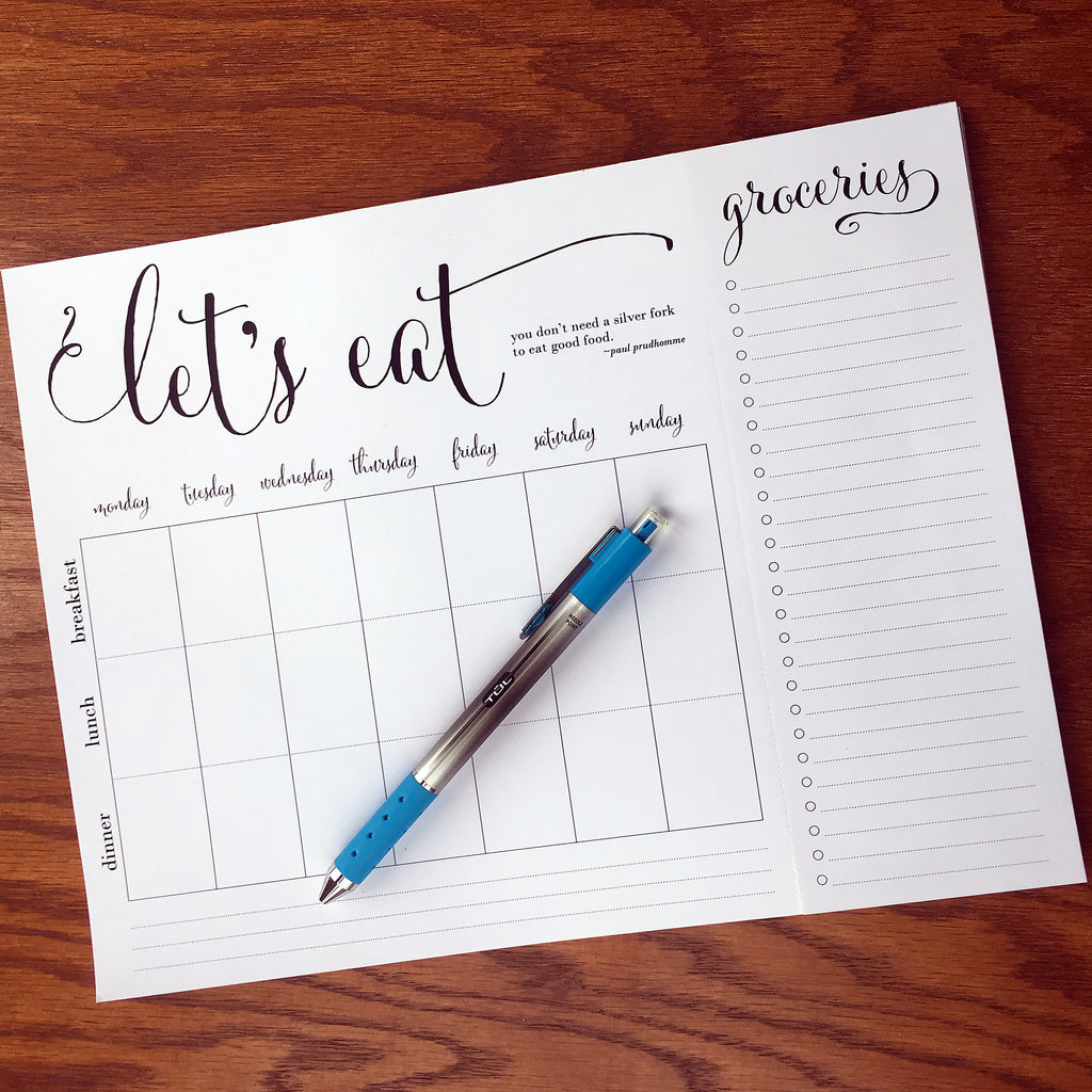 "Wholesale ""Let's Eat"" Weekly quote meal planning note pad with tear-off grocery list"