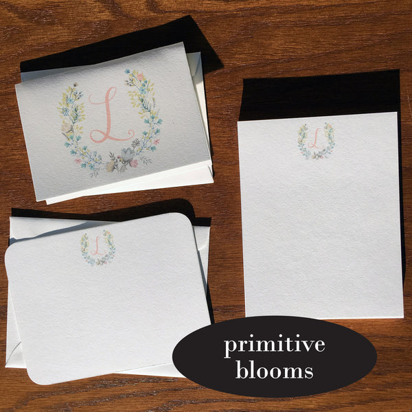 primitive blooms monogrammed stationery