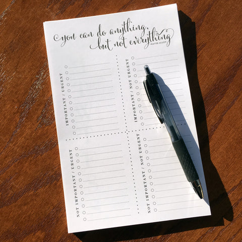 priority matrix note pad productivity tool