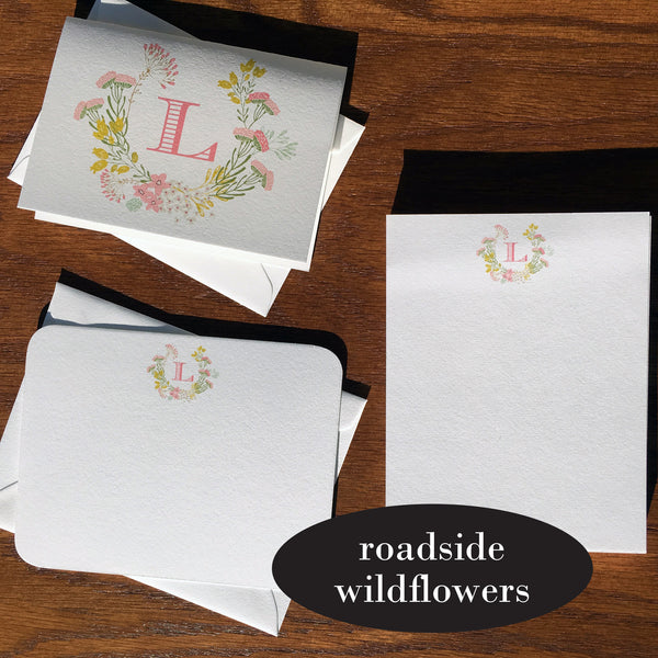 roadside wildflowers stationery with initial