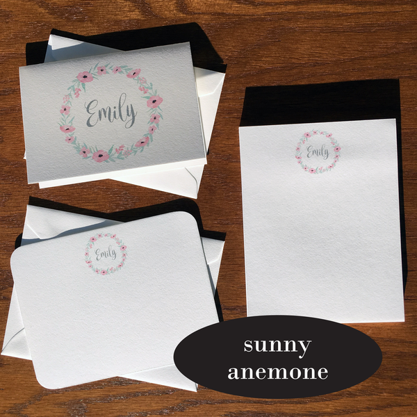 sunny anemone personalized stationery